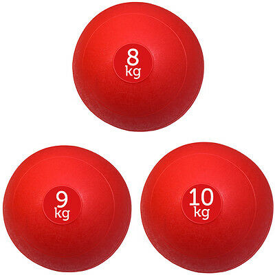 Set Of 3 Red Fxr Sports No Bounce Slam Balls Ball Fitness Gym (8Kg, 9Kg, 10Kg)