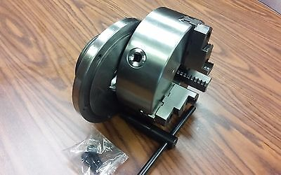 "8"" 3-JAW SELF-CENTERING LATHE CHUCK top & bottom jaws, w. L0  adapter back plate"