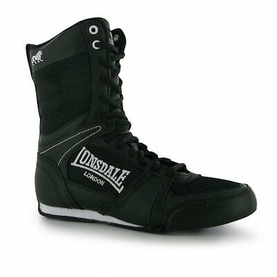Lonsdale Contender High Boxing Boots Kids Adults Shoes - Black-White