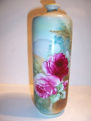 Antique Hand Painted Nippon Vase With Scenic Roses 22500 Picclick