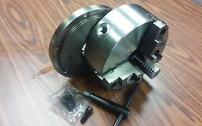 "8"" 3-JAW SELF-CENTERING LATHE CHUCK top & bottom jaws, w. L00 adapter back plate"
