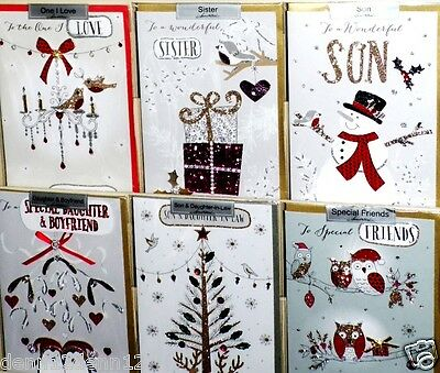 CHRISTMAS 2017 x36 CARDS, just 59p, LUXURY CHAMPAGNE HANDMADE, 12 DESIGNS X 3