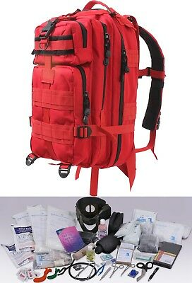 Red First Responder EMS 200pc Military EMT Trauma Kit Transport Pack