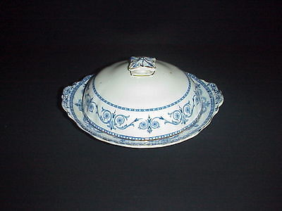 Burgess & Leigh Middleport Pottery Covered Butter Dish C.1912 Flow Blue