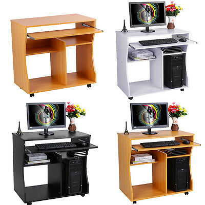 Home Office Study Workstation Wooden Computer Trolley PC Laptop Corner Desk New