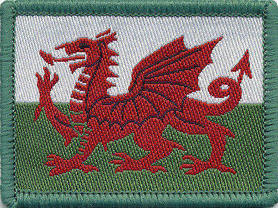Welsh Flag Dragon Woven Badge, Patch, 6cm x 4.5cm