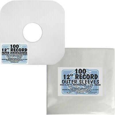 """100 Each 12"""" Record Paper Inner & Plastic Outer Sleeve Collectors Gift Pack SET"""