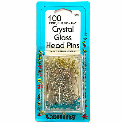 """Collins Crystal Glass Head Pins Fine Sharp-1 7/8"""" 100 Count  #C110"""