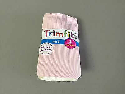 NWT Girl's Trimfit Ribbed Texture Tights Size Small Pink/Off White 2 Pair #116R