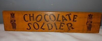 Vintage Chocolate Soldier Soda Wooden Crate Box Side Sign  Sturdy-Bilt