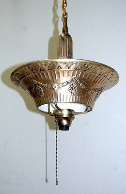 Original 1930s Art Deco Stamped Metal Hanging Light Fixture, Antique Lighting