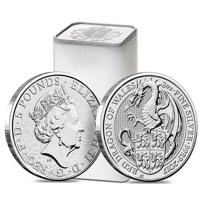 Roll of 10 - 2017 Great Britain 2 oz Silver Queen's Beast (Red Dragon) Coin .999