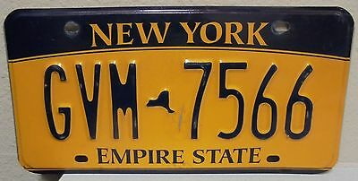 2012 New York  Empire State Gold License Plate Gvm 7566 Used
