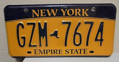 2012 New York  Empire State Gold License Plate Gzm 7674 Used