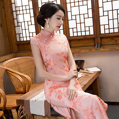 Luxury Womens Cheongsam Qipao Party Cocktail Evening Chinese Costume Dress New