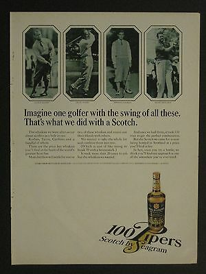 Vintage 1965 Seagram's 100 Pipers Scotch Whiskey Golfers Magazine Ad!!!!!!!