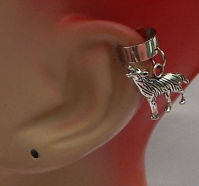 Silver Wolf Charm Drop/Dangle Ear Cuff Handmade Jewelry Accessories NEW Fashion