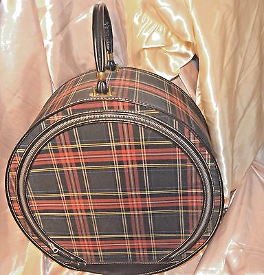 Vintage Travel Case Hat Box W Zipper Tartan Plaid Canvas Round