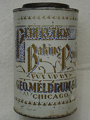 PERFECTION Baking Powder Tin Can GEORGE MELDRUM&Co Chicago STENCILED&Paper Label
