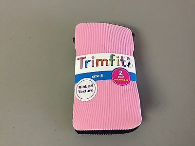NWT Girl's Trimfit Ribbed Texture Tights Size Small Pink/Black 2 Pair #117R
