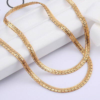 Solid 9k Yellow Gold Plated Link Chain Long Necklace Wedding Fashion Jewelry