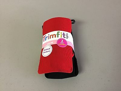 NWT Girl's Trimfit Ribbed Texture Tights Size Medium Red/Black 2 Pair #124R
