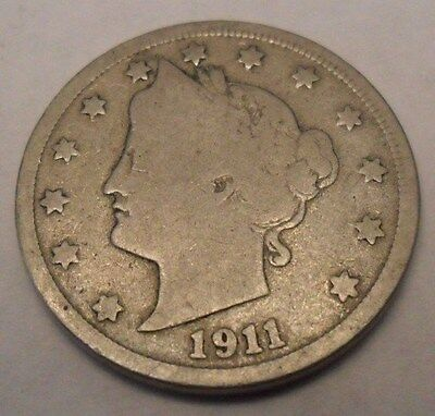 "1911 P Liberty Head ""v"" Nickel  **free Shipping**"