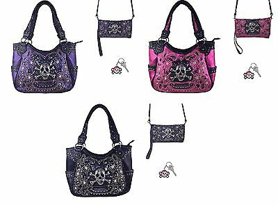 Skull Bling Concealed Carry Gun Purse Messenger Bag Wallet Set Purple Pink Black