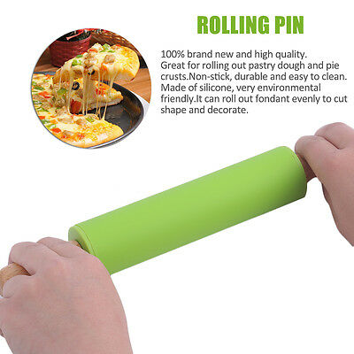 Environmental 29CM Wooden Handle Kitchen Non-stick Silicone Fondant Roller IB