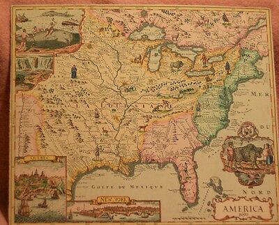 Antique Hand Colored Painted Map Of America / Canada Dated 1690 Excellent Cond