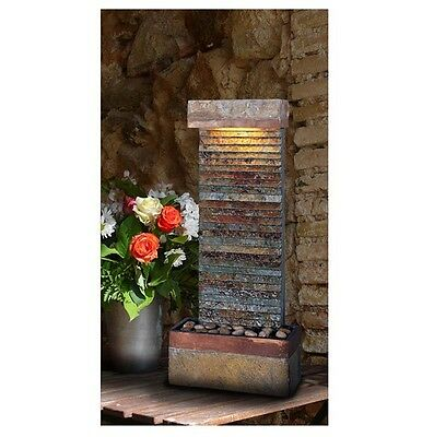 Indoor Water Fountain Slate Portable Waterfall Décor Wall Floor Home Relax NEW
