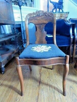 Antique Walnut and Burl Accent Chair Needlepoint Seat Floral