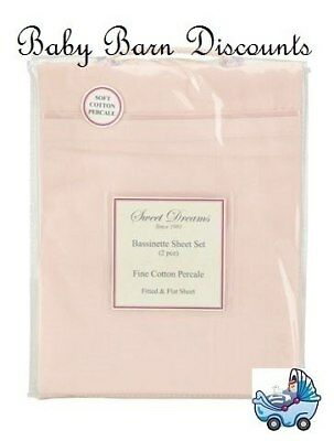 NEW Sweet Dreams - Bassinette Sheet Set - Pink from Baby Barn Discounts
