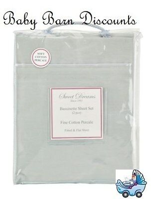 NEW Sweet Dreams - Bassinette Sheet Set - Grey from Baby Barn Discounts