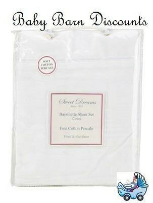 NEW Sweet Dreams - Bassinette Sheet Set - White from Baby Barn Discounts