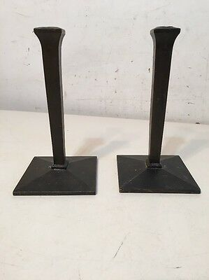 Antique Pair Of Arts & Crafts Bronze Candlesticks Lamp Bases