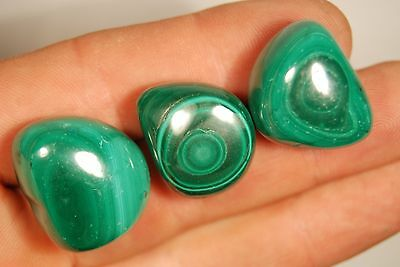 3 MALACHITE TUMBLED STONES 44g Healing Crystals, Protection, Relationships