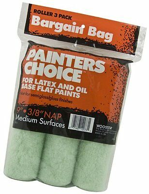 Wooster Brush R728-9 Painter's Choice Roller Cover, 3/8-Inch Nap, 3-Pack, 9-Inch