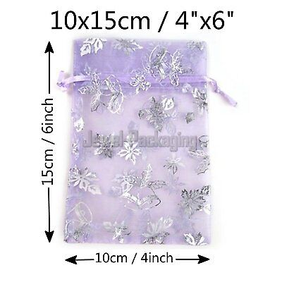 """200 Organza Drawstring Purple Christmas Jewellery Pouches Gift Bags 4""""x6"""""""