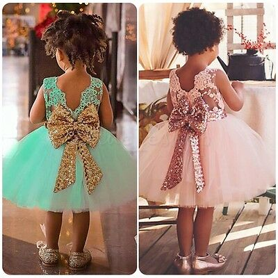 Princess Baby Kids Girl Bowknot Lace Floral Dress Birthday Party Formal Dresses