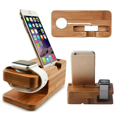 New Bamboo Wood Charging Station Charger Dock Stand Holder For Apple Watch Phone