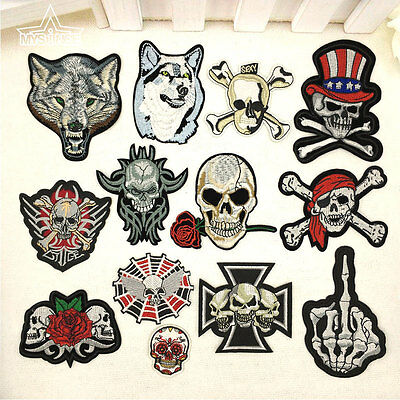 Punk Skull Embroidered Sew On Iron On Patch Badge Clothes Fabric Applique Bags