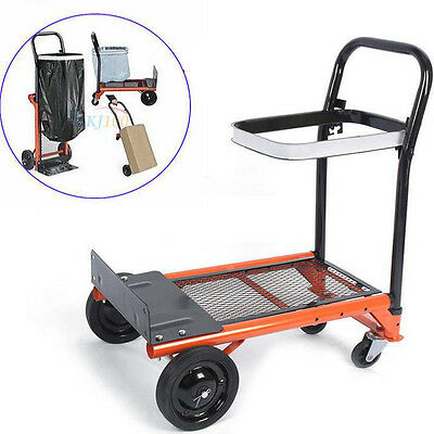 Hand Truck Collapsible Folding Push Pull Cart Luggage Barrow Trolley 4 wheels