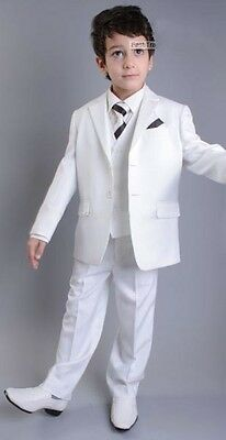 White Flower Boys Children Formal Wedding Groom Tuxedos Kid's Party New Suits