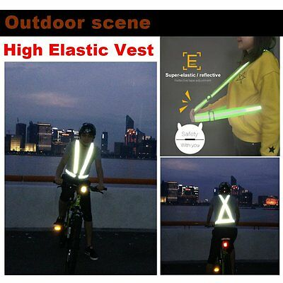 High Elastic Traffic Night Security Running Cycling Safety Reflective Vest AU
