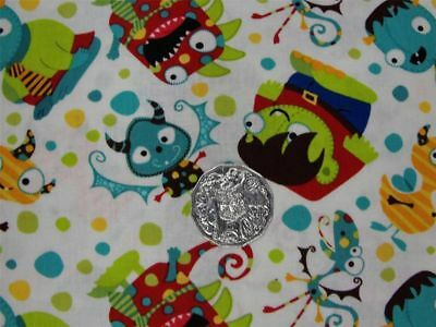 Quilting Patchwork Sewing Fabric LITTLE MONSTERS BOYS Allover 50x55cm FQ New ...