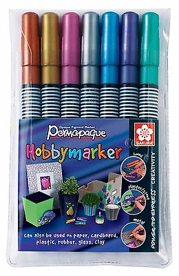7 x Sakura Metallic Permapaque Hobby Marker Pens, Fine Point, Assorted Colours