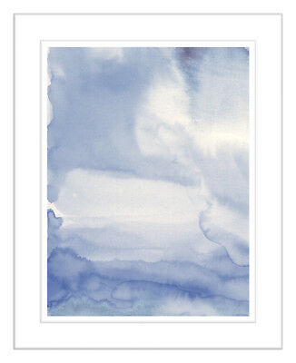NEW Blues Watercolour Framed Abstract Print