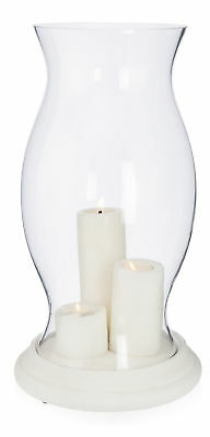 NEW Glass Hurricane Lamp with Cement Base