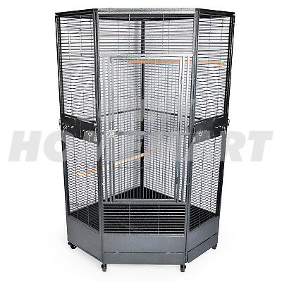 NEW Extra Large Corner Parrot Aviary Bird Cage with Wheels